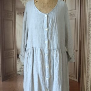 Robe gilet long LIN gris