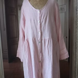 Robe gilet long LIN rose
