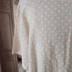 T-shirt LIN beige à pois blancs
