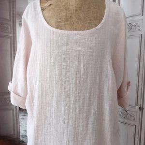 T-shirt LIN et COTON rose