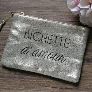 Pochette à message BICHETTE D'AMOUR dorée