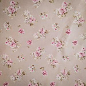 Tissu shabby détail motif roses petites fleurs fond beige/lin largeur 280 cm